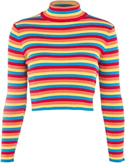 Yii ouneey Womens Fall Knit Sweater Long Sleeve Rainbow Colorblock Striped Crop Jumper Pullover Top Sweatshirt