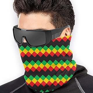 Rasta Pattern Face Clothing Neck Gaiter Mask – Non Slip Light Breathable for Sun Wind Dust Bandana Balaclava