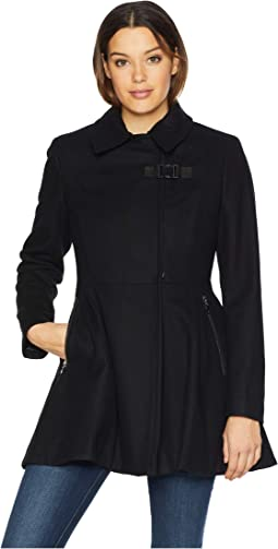 Wool Pleated Skirt Coat with Asymmetrical Zipper Details