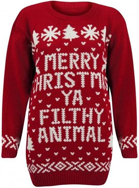 Kids Boys Girls Retro Novelty Merry Christmas YA Filthy Animal Festive Jumper Children Vintage Sweater Fancy Xmas Winter Warm Pullover Top