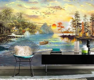 Wall Mural 3D Idyllic Country Lake Beautiful Landscape Oil Painting Custom Wallpaper 3D Effect Large Mural Wall Murals Home Decor