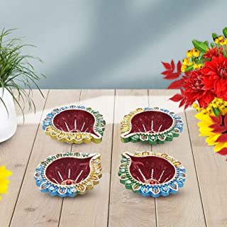 Tuelip Handmade Traditional Terracotta Clay Diya, Diwali Earthen Oil Lamp, Gift Items Diya for Diwali (Multi Color) Pack of 4