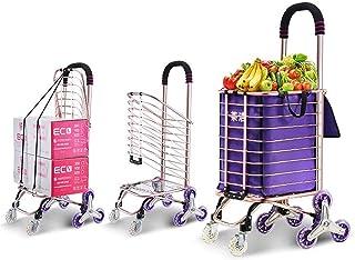 FGDSA Lightweight 8 Wheel Shopping Cart Trolley with Crystal Wheel Aluminum Climbing Wheel Household Trailer Buying Food a...