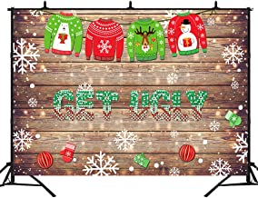 BEIPOTO Tacky Ugly Christmas Sweater Party Backdrop for Photography Xmas Party Decorations Photo Background Studio Booth Props 7x5ft B-230