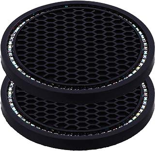 Porta-copos universal para veículos da VICASKY com suporte de porta-copos e acessórios internos de silicone com strass ant...