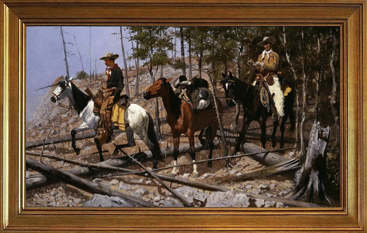 Berkin 新作 大人気 Arts Classic Framed Frederic Remington 低廉 Prin Canvas Giclee