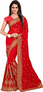 Saree for Women Indian Ethnic Sari in Red Georgette