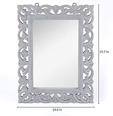 Nadim Handicraft Antique Style Wooden Home Decorative Wall Mirror (Grey, 50 x 37 x 1.5 cm)