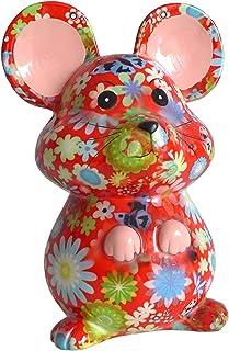 Pomme Pidou Skarbonka myszka czerwona z kwiatami skarbonka myszy skarbonka prezent pieniężny