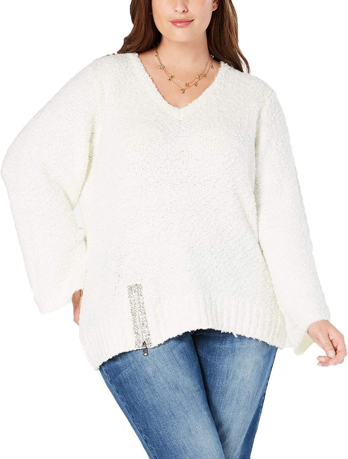 INC Womens Sweater Plus V-Neck Embellished Pullover White 1X