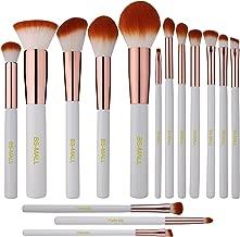 BS-MALL Premium Synthetic Kabuki Makeup Brush Set Cosmetics Foundation Blending Blush Eyeliner Face Powder Brush Makeup Brush Kit (15pcs, White Rose)