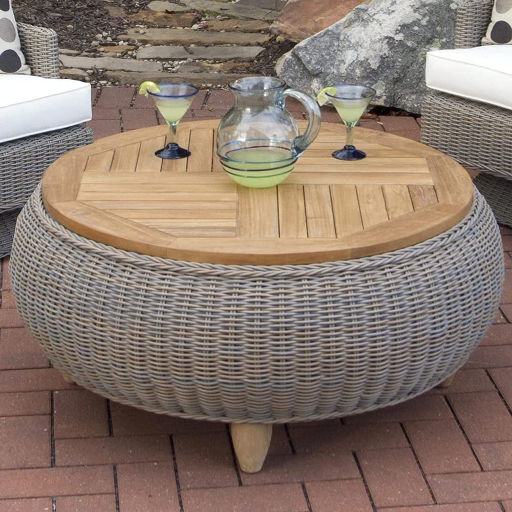 quality assurance Padma's Plantation Outdoor Paradise Ottoman Wood G Kubu Max 56% OFF Top With