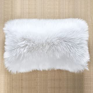 OJIA Faux Fur Throw Pillow Cover Cushion Case Super Soft Plush Accent Pillows Case Decorative New Luxury Series Style (12 x 20 Inch, Thick White)