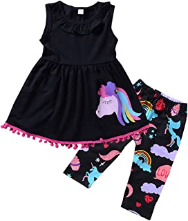 2-7T Toddler Girls Pony Sleeveless Shirt Tops Cropped Pants Outfits Clothes Set (4-5T, Black)