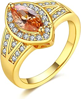 Adisaer Women Rings Gold Plated Marquise Shape Cubic Zirconia Her Size 6-8 Wedding Ring Bands for Bride