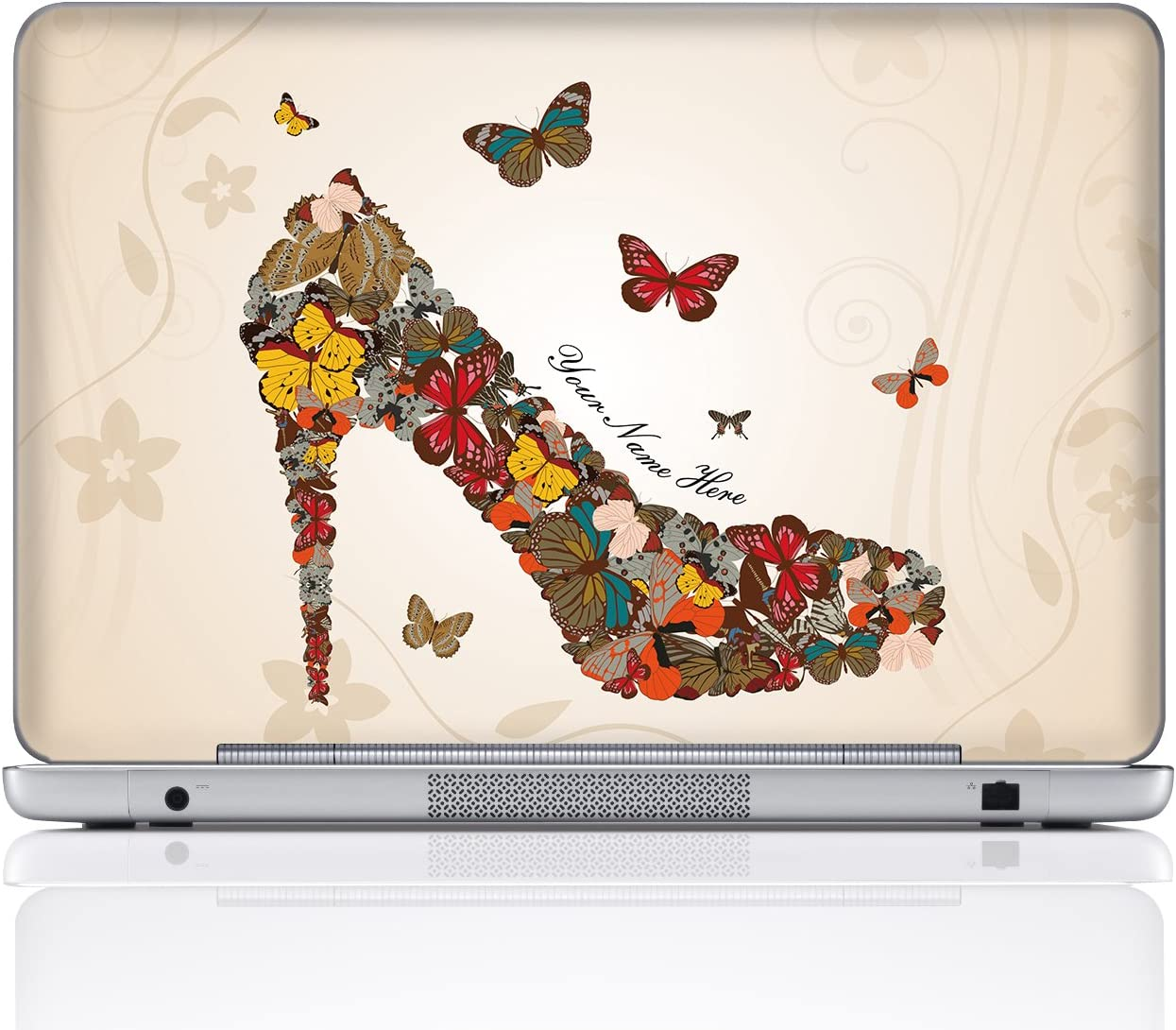 Meffort Inc Personalized Laptop Notebook Notebook Skin Sticker Cover Art Decal, Customize Your Name (15.6 Inch, Butterfly High Heel)