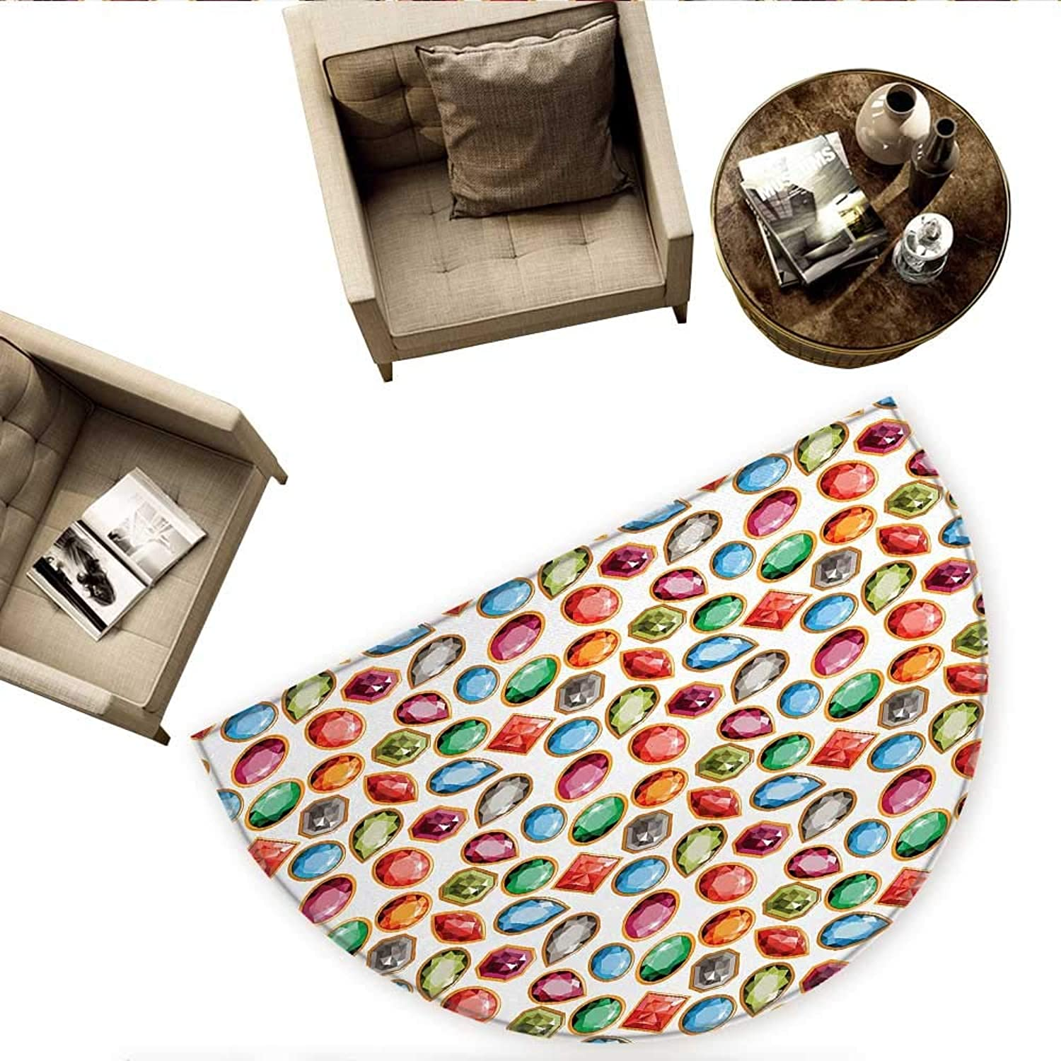 Diamond Semicircle Doormat Diamond Patterns Different Type of Forms Facets Square Oval Triangle Topaz Illustration Halfmoon doormats H 74.8  xD 112.2  Multi