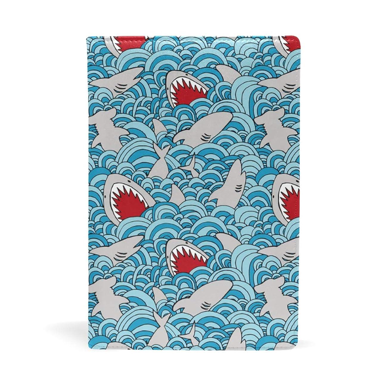 撃退する能力シェルター波の中のサメ ブックカバー 文庫 a5 皮革 おしゃれ 文庫本カバー 資料 収納入れ オフィス用品 読書 雑貨 プレゼント耐久性に優れ