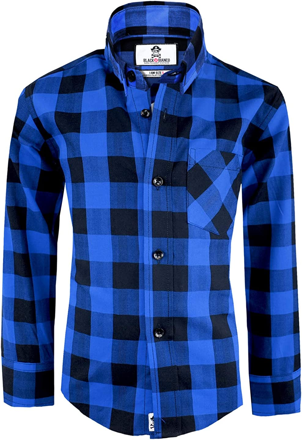 Black n Bianco Boys' Checkered Plaid Pr Dress Shirts price Down Button Wholesale