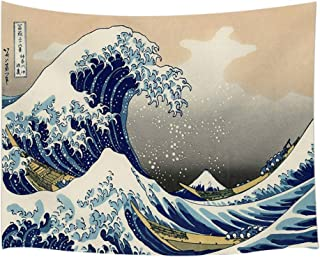 JAWO Asian Decor Tapestry Wall Hanging, Japanese Ink Painting Ocean Wave, Polyester Fabric Wall Tapestry for Home Living Room Bedroom Dorm Decor 80W X 60L Inches