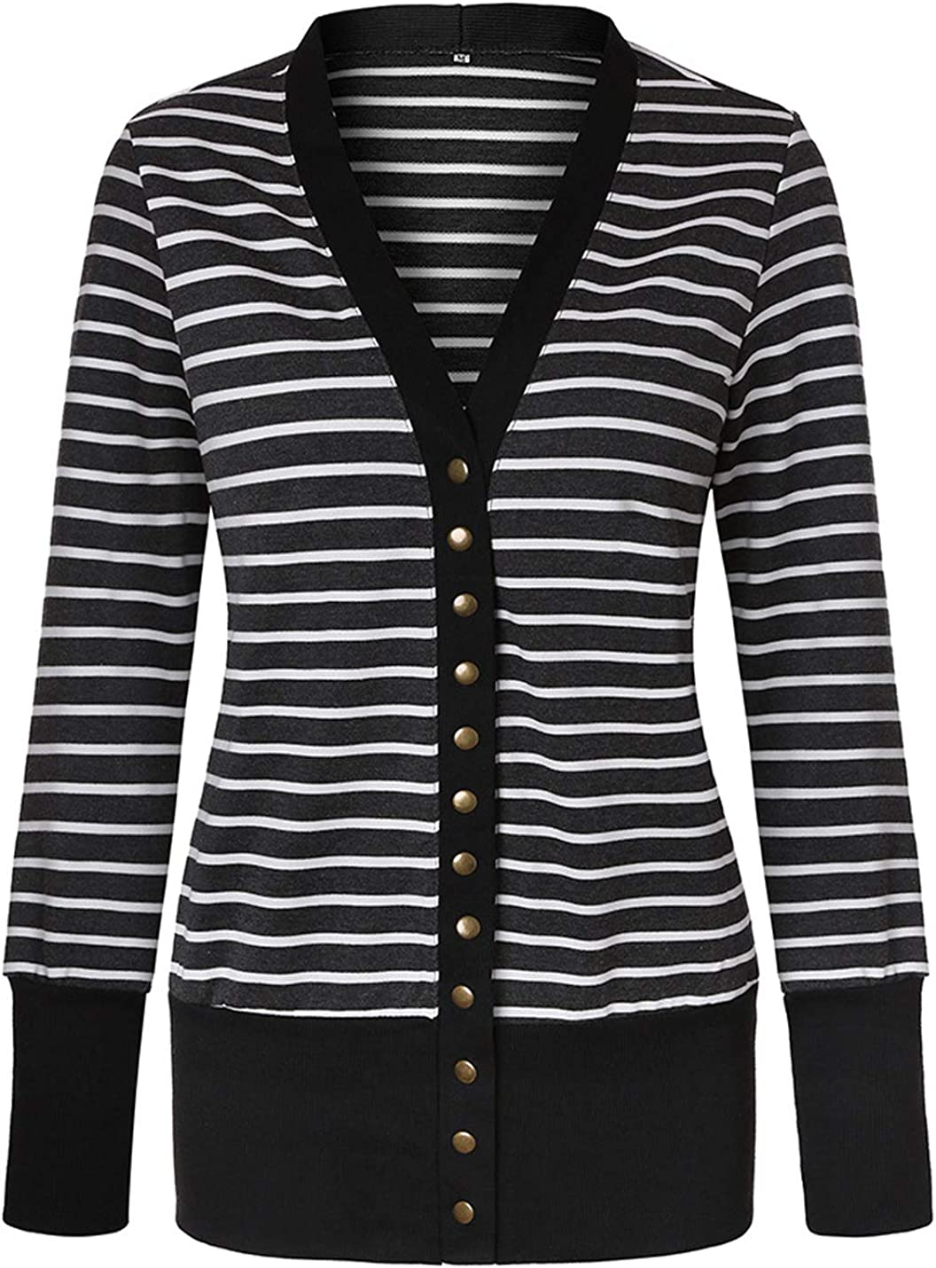 Omoone Women's Snap Button Up V-Neck Striped Basic Knit Cardigan Sweater
