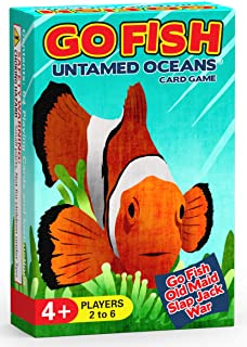 GO FISH Untamed Oceans 3-in-1 Card Game (GO FISH, Old Maid, and War)
