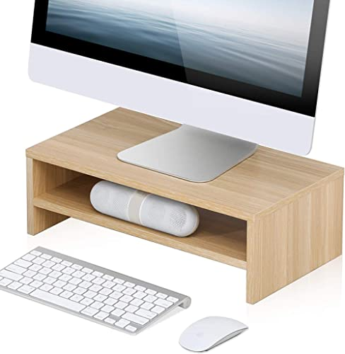 FITUEYES Computer Monitor Stand 2 Tier PC Laptop/Printer/TV Riser Desk with Storage Shelf for Home Office and School ...
