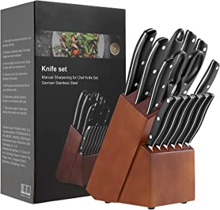 15-Pieces Knife Sets, Kitchen Knife Set German Stainless Steel with Wooden Block & Sharpener, ABS Handle, Full Tang