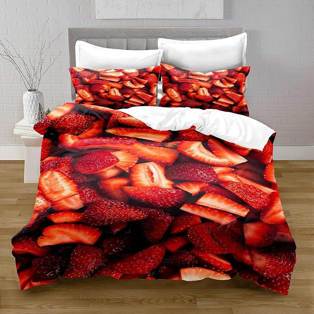 Bombing new Max 54% OFF work Twin Duvet Covers Red Bedding Easy Care Strawberry