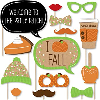 Big Dot of Happiness Pumpkin Patch - Fall, Halloween or Thanksgiving Party Photo Booth Props Kit - 20 Count