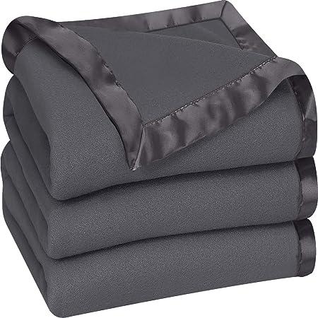 Utopia Bedding Fleece Blanket Queen Size Grey Soft Cozy Sateen Bed Blanket Microfiber