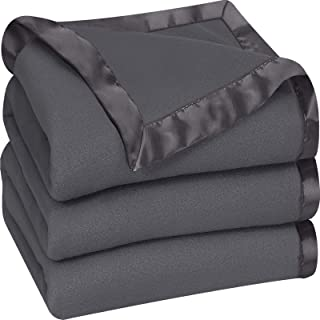 Utopia Bedding Fleece Blanket King Size Grey Soft Cozy Sateen Bed Blanket Microfiber