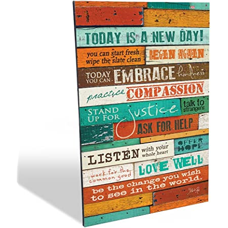 NEW Today is a New Day Wood Wall Art Print by Marla Rae 16 x 12 FREE SHIPPING