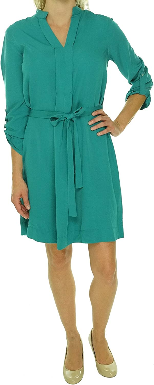 Studio M Women's Belted 3/4 Sleeve Shirt Dress (L, Capri Green)