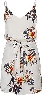 Women Floral Print Dress Spaghetti Strap V Neck Mini Dress