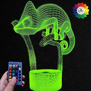 HPBN8 Ltd Illusion Optique 3D Caméléon Nuit Lampe Art Déco Lampe LED Décoration Lampes Contrôle à distance 7/16 Couleurs C...