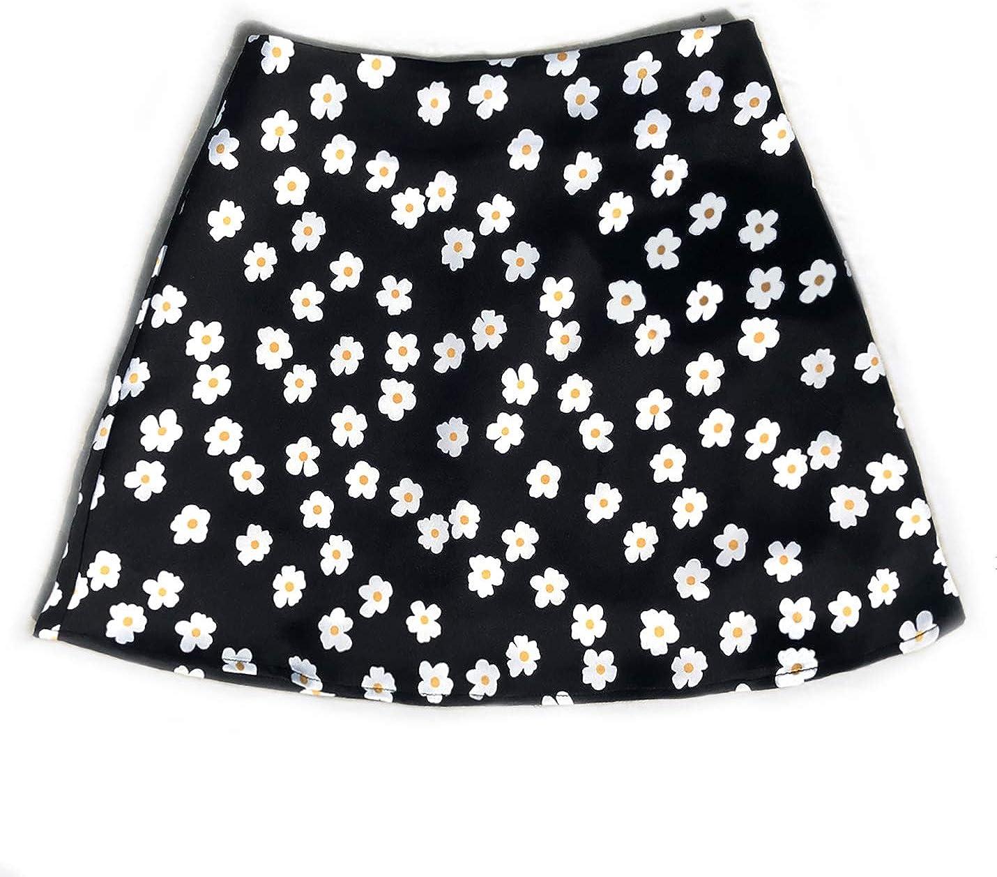 IKIIO Women's Casual Summer Cute Boho Floral Print High Waist Skirt Flared A Line Skirts