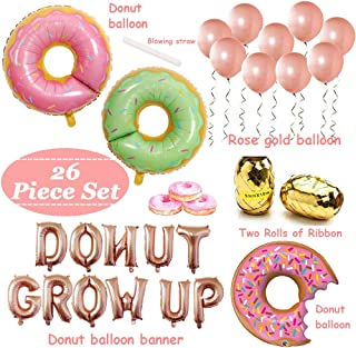 Donut Birthday Party Decorations Kit,Donut Grow Up Banner, Donut Mylar Foil Balloons,Rose Gold Latex Balloons and Balloon Ribbon
