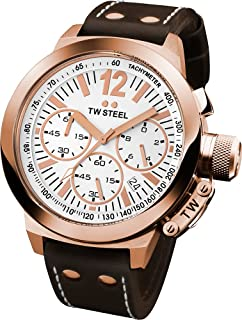 TW Steel Men's CE1019 CEO Canteen Brown Leather White Chronograph Dial Watch