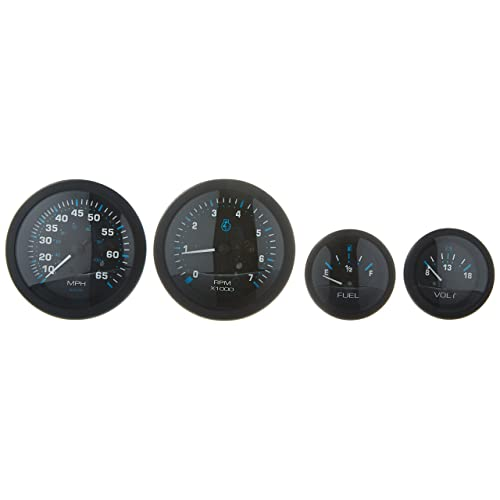sierra international eclipse 4-gauge outboard kit includes speedometer,  tachometer, voltmeter & fuel
