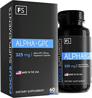 Alpha GPC - 325mg per Capsule - 60 Vegetarian Capsules - Focus Supplements - Choline | Nootropic | Brain Enhancing Supplement - Packaged in ISO Licenced Facilities - 100% Money Back Guarantee