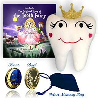 Tooth Fairy Keepsake Gift Set: Book, Pillow and Gold Coin with Velvet Memory Bag for Boys and Girls