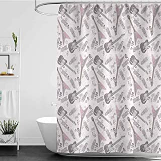 Tim1Beve Shower stall Curtains,Music Decor Pattern with Guitars Shoes Skulls Crossbones Stars Punk Rock Music Concert,Metal Build,W94x72L