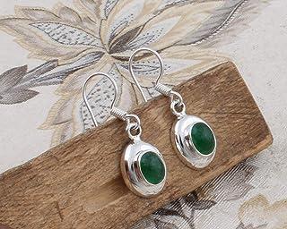 Pendientes de plata de ley para mujeres, Pendientes con forma de hoja, Pendiente de esmeralda oval, Pendientes colgantes Plata Aretes, Sterling Silver Earrings for Women