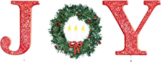 CT DISCOUNT STORE Glittered Red Christmas Stake Outdoor Yard Decoration of Joy