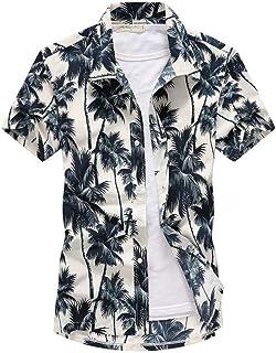 PPJIU Hawaiian Beach Shirt,Hawaiian Casual Buttoned Short Sleeve Tropical Coconut Tree Printed Quick Dry Breathable Vintag...