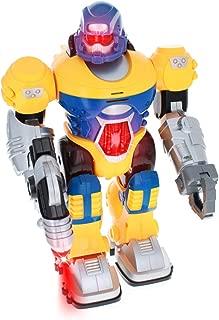Kid Fun Power Warrior Lights Up and Walks Super Robot Boys Action Figure - Yellow