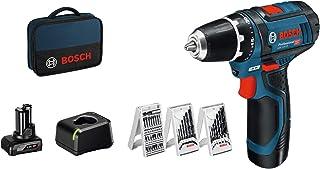 Bosch Professional Perceuse visseuse Sans Fil GSR 12V-15 (1 batterie 2,0Ah + 1 batterie 4,0 Ah, 12V, Pack d'accessoires, S...