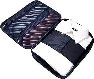 Mare Biz(マーレビズ) ネクタイ ワイシャツケース 出張に便利 海外 旅行 シワ 予防 型崩れ 防止 スーツケースにぴったり 着替えをオールインワン 折りたたみシート付き (ネイビー)