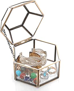 MyGift Faceted Hexagonal Clear Glass & Brass-Tone Metal Hinged Top Lid Terrarium Box/Tabletop Display Case